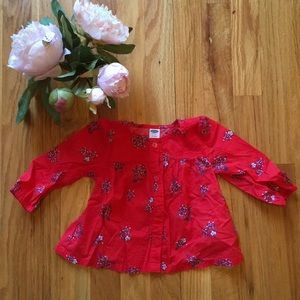 NWOT Red Floral button up blouse
